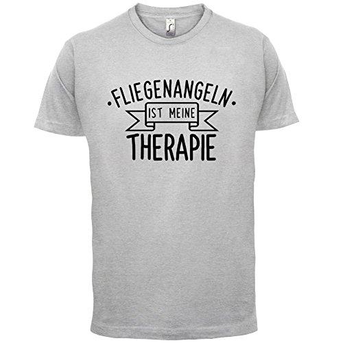 Fliegenangeln ist meine Therapie - Herren T-Shirt - 13 Farben Hellgrau