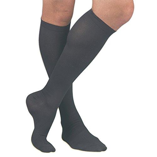 Activa H3463 Herren Mikrofaser Nadelstreifen Kleid-Socken 20-30 mmHg - Size & Color-Large Schwarz (Herren-mikrofaser-kleid-socken)