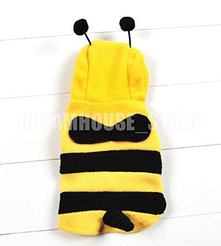 Kostüm Biene, für kleine Hunde und Katzen, Samt, Schwarz/ Gelb, erhältlich in den Größen XS, S, M, L, XL (Biene Kostüme Für Hunde)