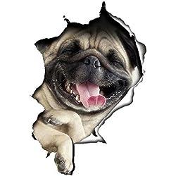 WandSticker4u- Chien Sticker mural 3D Voiture Autocollant, Bouledogue Français Carlin Chien Stickers muraux pour Enfants Frigo Toilette WC Porte Animal Amoureux des Chiens