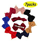 7pcs Fashion Double-Deck Chiffon Large Solid Color Bowknot Hair Clip Women Girls Headband Hair Bow Accessories HC8 (7Colors)