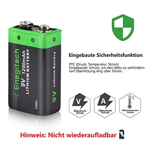 9V Block Batterie Lithium 1200mAh, Enegitech CR9V Rauchmelder Batterie Fotobatterie, 4er Pack