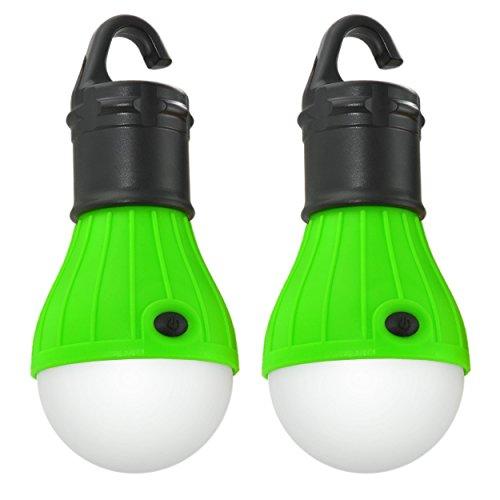 2er Set LED Campinglampe, Zeltlampe, Schrankleuchte mit Hakenhalterung für komfortable Befestigung, Farbe schwarz/grün; Marke: Ganzoo