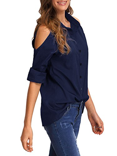 ROMWE Damen Bluse Cold Shoulder Cut Out Loose Fit Knöpfverschluss Hemdbluse  Sommerbluse Marie Blau