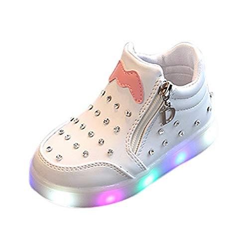 Neue Kinder PersöNlichkeit Design Schuhe Baby MäDchen Kristall ReißVerschluss Schuhe Led Licht Leuchtende Kurze Stiefel Booties Schuhe Weichen Boden Rutschfeste Schuhe (Rot, Rosa, Weiß, Schwarz)