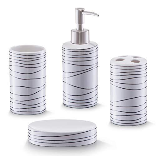 Zeller Badezimmer Set, 4 teilig, Keramik, weiß
