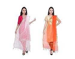 Dupatta Bazaar Womens Dupatta (Pack of 2)(CD0026_Multi-Coloured_Free Size)
