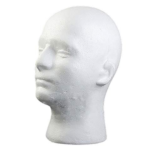 Maniquí masculino de espuma de poliestireno con cabeza de manikin modelo peluca gafas sombrero expositor soporte - blanco Rycnet