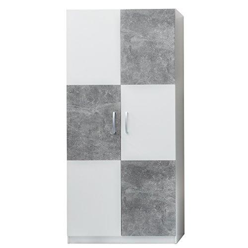 trendteam 175261235 Kleiderschrank, Holzdekor, Weiß, 90 x 193 x 53 cm