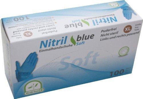 Einmalhandschuhe PF Nitril blue Soft Medi-Inn(Menge: 100 Stück,Größe: XL (9-10))