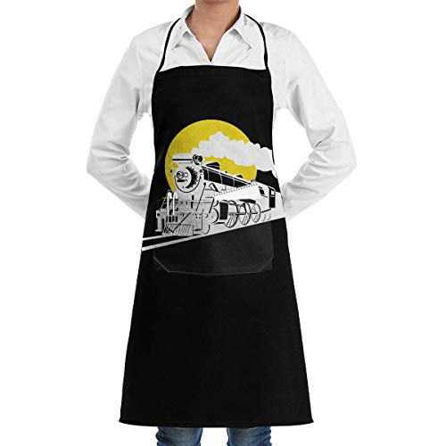 Buy Apron Sunset Steam Train and Railway Menâ€s Womenâ€s Unisex Supermarket Overalls Kitchen Long Aprons Sleeveless Overalls Portable with Pocket for Cooking,Baking,Crafting,Gardening,BBQ