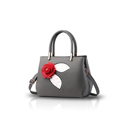 NICOLE&DORIS Donne Moda semplice borsa di Crossbody spalla borsa piccolo sacchetto morbido PU carino Totes Grigio Chiaro Grigio Scuro