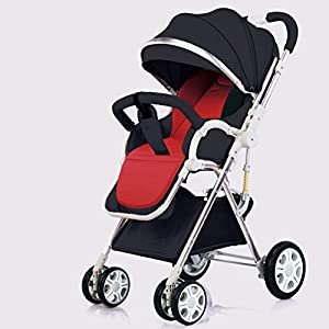 Foldable Stroller Pushchair,Lightweight Bilateral 5-Point Harness Four-Tier Extended Canopy Travel Buggy-A   2