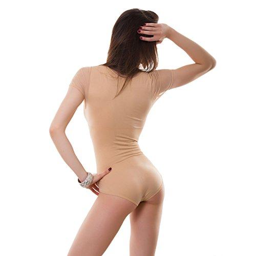 Toocool - Body donna sottogiacca trasparente velato scollo cuore nuovo QDZ9221 Beige