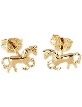 ASS 333 Gold Paar Ohrringe Ohrstecker Pferd, Pferde, poliert, glänzend