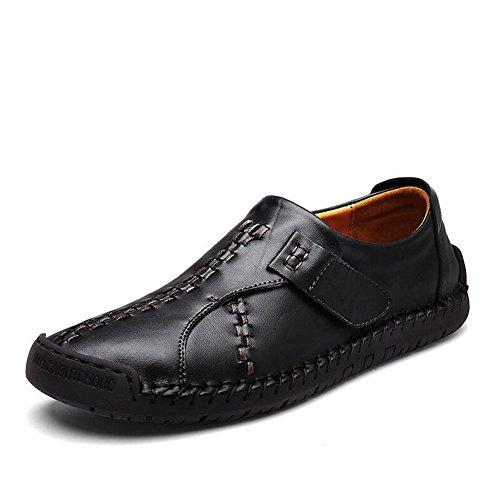 HUAN Herrenschuhe Beiläufige Schuhe der Männer IM Freien Übungs-Turnschuh-Flache Müßiggänger-Leder (Color : Black, Size : 43)