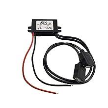 JZK Auto convertitore trasformatore di potenza DC 12V a 5V / 3A convertitore di tensione per ricarica telefono, auto audio, autoradio, ecc, con doppi connettori adattatore USB 2.0