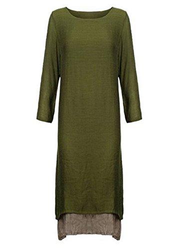 Qissy® Automne Vintage Femme Longue Tunique Maxi Robe Casual de Soiree Bal Cocktaill Dress Linge Vert