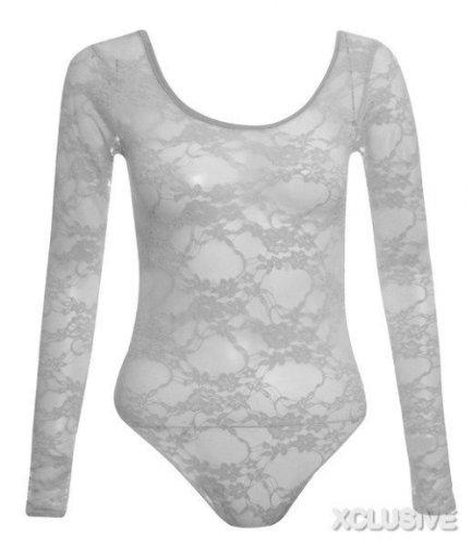 neue Damen Blütenspitze Körper passt Langarm Trikot Körper Spitzenabschluss White