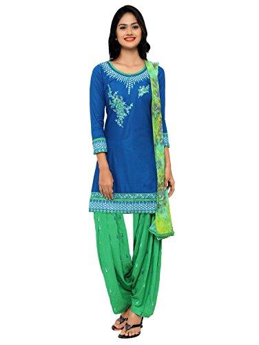 Kvsfab Patiala suit(un stitched_ Light Blue & Green Colour)