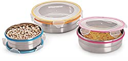 Steel Lock CS-04 Airtight Storage / Food Lock Steel Containers 3 PC Set