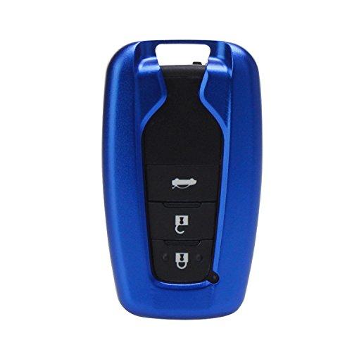 [M.JVisun] - Cover per telecomando chiavi per Toyota, cover in alluminio per aeronautica + portachiavi in vera pelle, Blu