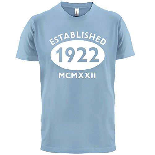 Gegründet 1922 Römische Ziffern - 95 Geburtstag - Herren T-Shirt - 13 Farben Himmelblau