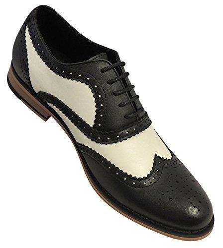 .boutique Herren 1920's 30's 40's Leder Schwarz Weiß Swing Jazz Gatsby Halbschuhe - Schwarz und Weiß, UK 09/EU 43