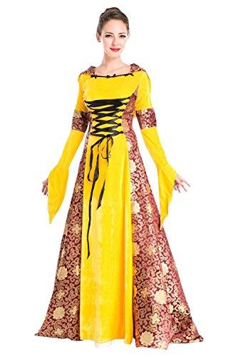 Vintage Mittelalter Kleid Cosplay Kostüm Langarm Königin von England Gothic Kleid Gelb (England Cosplay Kostüm)