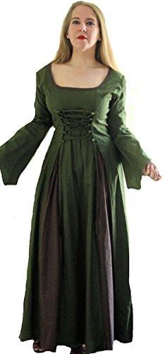 Dark Dreams Mittelalter Larp Magd Kleid mit Schnürung abnehmbare Ärmel 36 38 40 42 oliv braun Cinnamon, Größe:L/XL