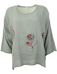 Frauen Übergroße italienische Lagenlook Textured Scoop Neck Leinen / Baumwolle 3D Floral Damen Tunika Top