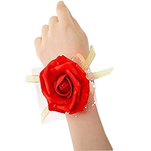Weimay, corsage a forma di rosa per matrimonio, adatto a sposa e damigelle, da polso, confezione da 3 pezzi rosso red