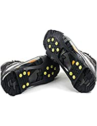 Veewon 1 par de tracción de hielo Universal Negro sobre el zapato tachonado Snow Grips Ice Spikes Anti Slip Crampons Snow Cleats (X-Large)