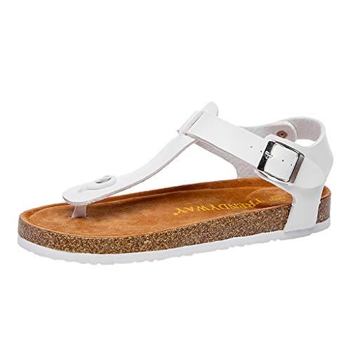 Yvelands Damen Sandalen Flip Flops Schuh Kork Hausschuhe Schnalle Strand Anti-Slip Toe Post Sandale(Weiß,41)