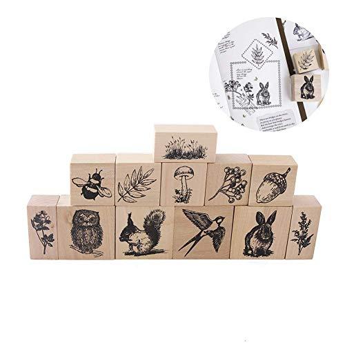 Holz Stempel 12-Teilig Stempelset Gummi Tagebuch-Einklebebuch-Stempel stellte Tiere und Pflanzen-Waldmuster ein f¨¹r DIY Bastelbedarf