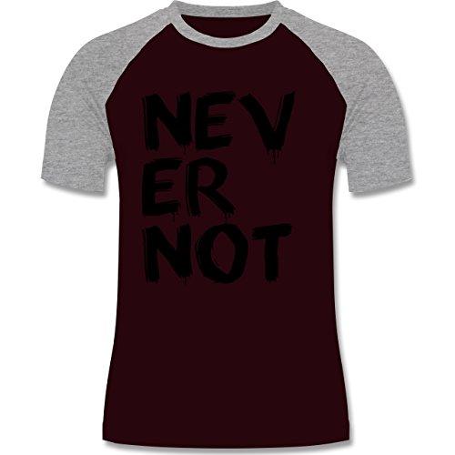 Statement Shirts - Never not - niemals nie - zweifarbiges Baseballshirt für Männer Burgundrot/Grau meliert