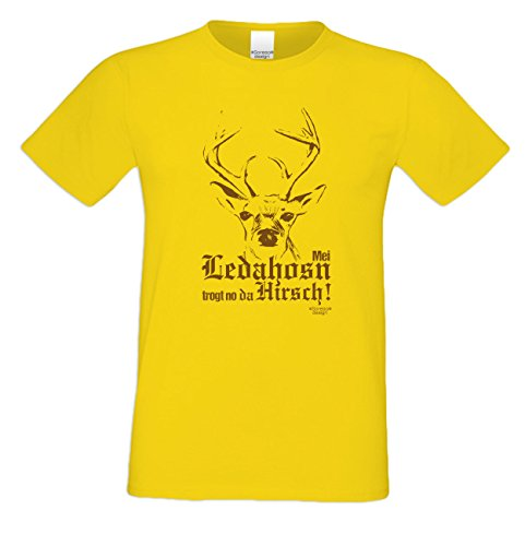 Herren Shirt Mei Ledahosn trogt no da Hirsch Kurzarm Rundhals Farbe: gelb Gelb