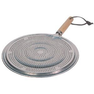 Flame Tamer SIMMER Ring Aluminum HEAT Diffuser DISTRIBUTER gas stove top stovetop with Wood Handle by SCI Scandicrafts