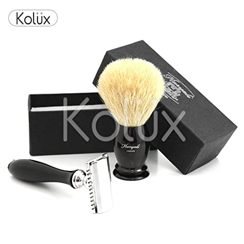CLASSIC SAFETY RAZOR COMPLETE SHAVE KIT WITH SUPER BADGER SHAVING BRUSH (Blades not Included )