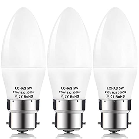 LOHAS® C37 5Watt B22 Bayonet LED Candle Bulbs, 40Watt Incandescent Bulb  Equivalent, Warm White 3000K, 480lm, Non Dimmable, Candle Light Bulbs, Pack of 3