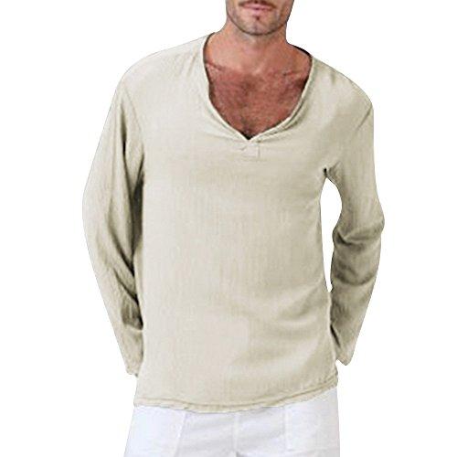 OSYARD Herren Solide Baumwolle Leinen Yoga Bluse Langarm, Herren Sommer T-Shirt Baumwolle Leinen Thai Hippie Shirt V-Ausschnitt Strand Yoga Top Bluse (2XL, Khaki)