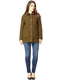 Anastasia Olive Round Collar Wool Boucle Jacket