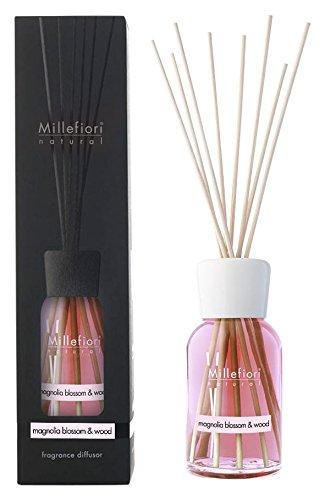Millefiori 7DDMW Magnolia Blossom und Wood Raumduft Diffuser 250 ml Natural inklusive Stäbchen, Glas, Rosa, 8 x 30.9 x 7.6 cm - Amber Blossom