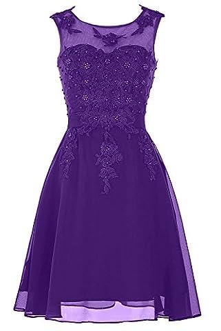 fethying Chiffon Ballkleid Rundhals A-Linie Spitze Abendkleider kurz Cocktailkleid Brautjungfernkleid-Violett-46