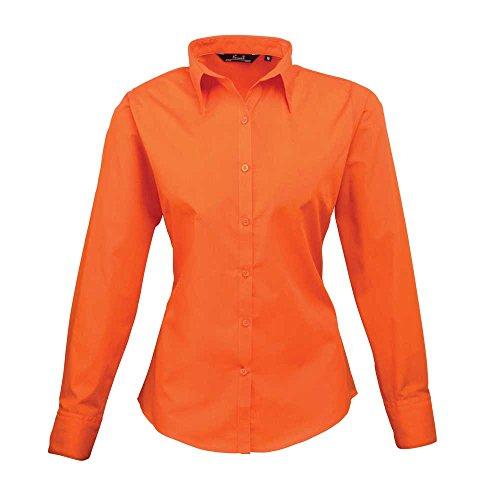 Premier Chemisier en popeline à manches longues pour femme en Jaune - Orange