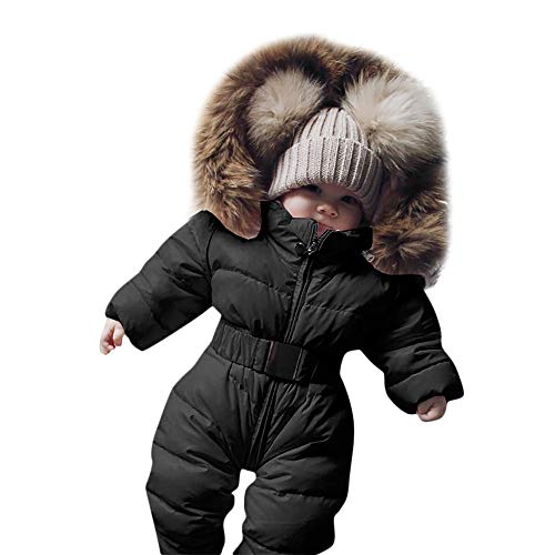 Covermason Baby Babykleidung Neugeborene Winter,Säuglingsbaby Junge Mädchen Spielanzug Strampler Jacke Mit Kapuze Overall Warm Dicker Mantel Coat Outfit Abnehmbarer Hut (90, Schwarz)