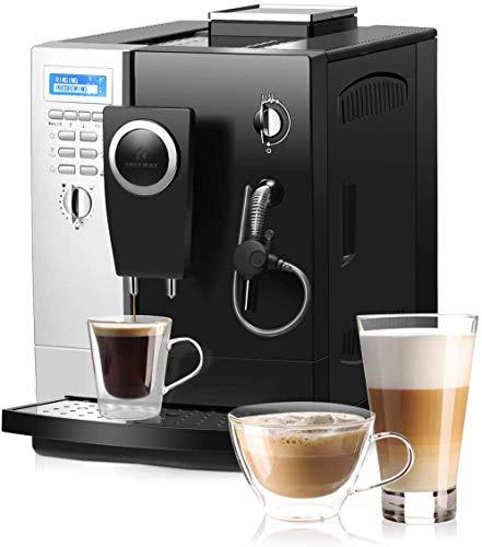 COSTWAY Machine à Café Automatique,Cafétière Automatique 1200W en Acier Inoxydable,19 Bar avec Mode 2 Tasses pour Maison,Bureau,Café