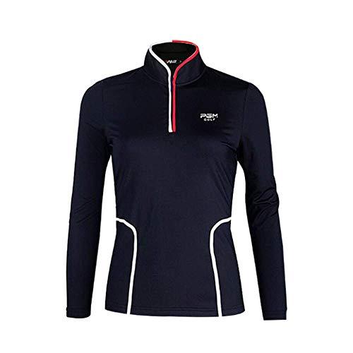 Mhwlai Damen Shirt Golf, Kleidung Herbst Langarm T-Shirt Slim Taille Kragen Golf Kleidung Hohe Qualität (Schwarz),Schwarz,S
