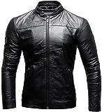 CRONE Epic Herren Lederjacke Cleane Basic Jacke aus Weichem 100% Echtem Schafs-Leder (L, Schwarz)
