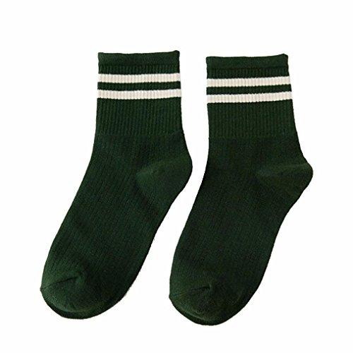 Damen Socken Transer® Mädchen Schule Mode Baumwollmischungen mit Niedlich Gestreift Schwarz Rot Lässige Süß Strumpf (Grün) (Mikrofaser-kinder-socken)